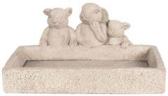 Clayre & Eef Serveerschaal 6TE0280 26*19*12 cm Beige Beton Rechthoek Konijnen Presenteerschaal Dienblad Decoratie Schaal