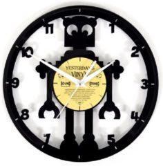 Zwarte Yesterdays Vinyl Robot Vinyl Klok met Cijfers - Lp Wandklok - Ø 30 CM