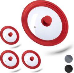 Rode Relaxdays 4 x glazen deksel - universeel - pannendeksel - met siliconen rand - voor pannen