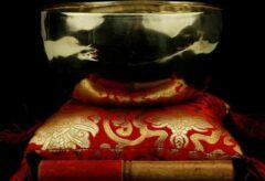 Bruine Yogi & Yogini Klankschaal Shanti goudkleurig - 19-21 cm - 900-1050 g - S