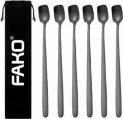 Fako Bijoux® - 6 Lange IJslepels - Vierkante Mini IJslepels - Dessertlepels - Sorbetlepels - Koffielepels - Zwart - 6 Stuks - Bewaarzakje
