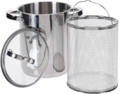 Roestvrijstalen Excellent Houseware Aspergepan met glazen deksel - 4.2 liter