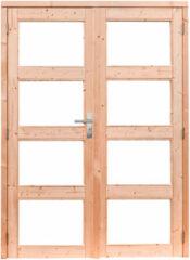 Woodvision   Douglas dubbele glasdeur 4-ruits met melkglas   Groen geïmpregneerd