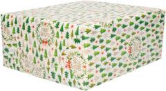 Bellatio Decorations 3x Rollen Kerst cadeaupapier/inpakpapier wit met mini kerstboompjes print - 200 x 70 cm