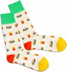 Creme witte DillySocks Dilly socks Fast Food Sock