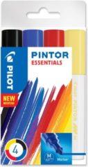 Pilot Pinton Essentials markeerstift 4 stuk(s) Zwart, Blauw, Rood, Geel Fijne punt