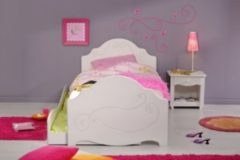Bett 90 x 200 cm mit Nako weiss tiefgezogen lackiert Parisot Alice 3