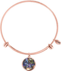 Paarse CO88 Collection Elemental 8CB 11034 Stalen Armband met Hangers - Multicolor Ø 20 mm - One-size - Rosékleurig