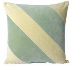Groene HK Living HKliving striped velvet cushion mint/green (45x45)