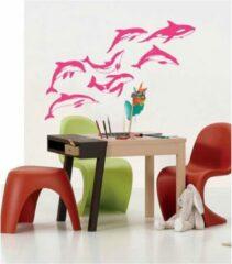 Coart by Artikel Muurstickers Dolfijnen - set van 7 - 120 x 80 cm - roze