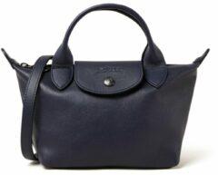 Donkerblauwe Longchamp Le Pliage Cuir handtas Mini van leer