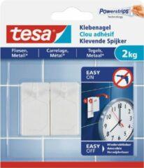 4x stuks Tesa klevende spijkers - wit - voor oppervlaktes als tegels en metaal - draagkracht 2 kg - spijker / schroeven