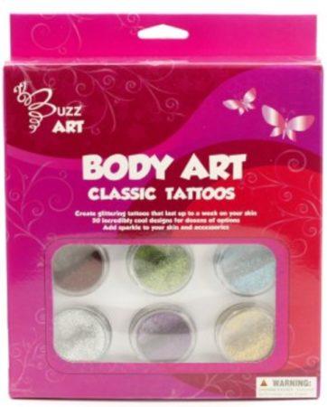 Afbeelding van Buzz Glittertattoos Classic 6 kleuren glitter met designs