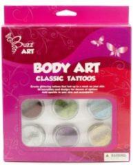 Buzz Glittertattoos Classic 6 kleuren glitter met designs