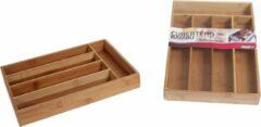 Bruine Gerimport Bamboe Houten Bestekbak - Bestek Opbergbak Organizer - Besteklade Bak - 5 Vakken