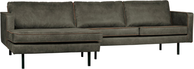 Afbeelding van BePureHome Rodeo bank chaise longue recycle leer army linkervariant
