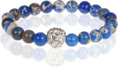 Memphis Blauwe kralen armband Natuursteen Leeuwenkop