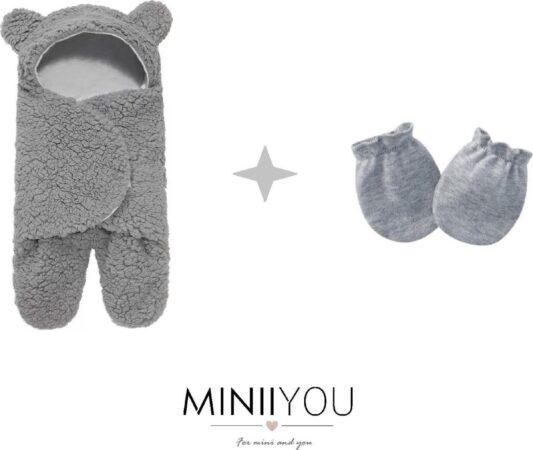Afbeelding van MINIIYOU® Zachte grijze teddy beer Inbakerdoek newborn - 0-1 mnd + krabwantjes