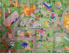 Merkloos / Sans marque Autospeelkleed treinbaan 80 x 120 cm inclusief speelgoed autootjes - Speelkleed setje met autos