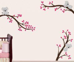 Stickerkamer Muursticker takken met koala's meisjeskamer (roze)