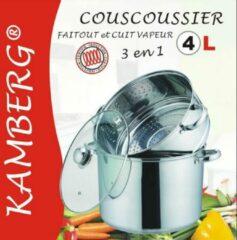 Zilveren Amberg Couscous pan 3 in 1 Couscoussier - Roestvrij staal
