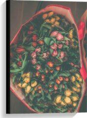 Rode KuijsFotoprint Canvas - Tas gevuld met Tulpen - 40x60cm Foto op Canvas Schilderij (Wanddecoratie op Canvas)