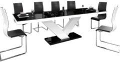 Hubertus Meble Uitschuifbare Eettafel Victoria 160cm tot 256cm - Hoogglans Zwart met Wit