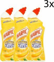 HARPIC Active Fresh - Citroen - Langdurige Frisheid - Verwijderd Kalkaanslag & Vlekken In Toilet & Sanitair - 750ml x 3