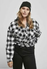 Urban Classics Blouse -3XL- Short Oversized Check Zwart/Wit