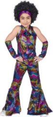 Funny Fashion Disco Jumpsuit Rainbow Glitter | Maat 140 | Meisjes | Verkleedkleding