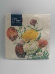 """Royal ware by Farla VOORDEELPAK: 5 Pakjes van Servetten met bloemen print – """"Dahlia Flower"""", 33 cm - verpakking van 20 servietten"""