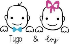 Blauwe Sticker Namenenzo Geboortesticker Tweelingen   Raamsticker geboorte   Geboortesticker met naam   Meisje en Jongen