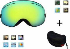 Groene Ski bril + hard case lens Smoke Gold frame Zwart F type 4 Cat. 0 tot 4 - ☀/☁ extra lens is optie.