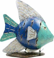 Blauwe Fairtrade uit Indonesie Metalen Waxinelichthouder Engel Vis (34 x 33 cm)