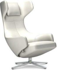 Vitra Grand Repos Sessel - Sitzhöhe 46 cm - Untergestell Aluminium poliert - Leder Kontrastnaht snow