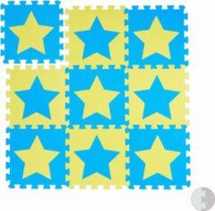 Blauwe Relaxdays 9 x puzzelmat ster - speelmat - speelkleed - vloerpuzzel - speeltapijt – kinder