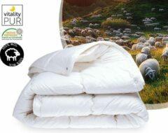 Witte Bestrest Bedden Wollen dekbed - Texel Comfort - 4-seizoenen dekbed - Tijk 100% perkal katoen - 140x200cm - Eenpersoons dekbed