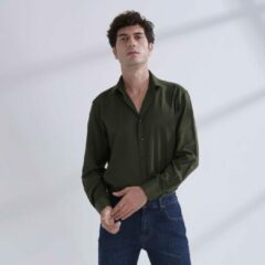 Heren Overhemd Groen MT 43 - Baurotti Lange Mouw Regular fit