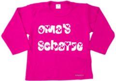 Roze Merkloos / Sans marque Minifashion - kraamcadeau - baby - peuter - shirt - lange mouwen - Fuchsia - Oma's schatje- maat 56