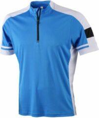 James nicholson james and nicholson heren fietsshirt met halve rits blauw