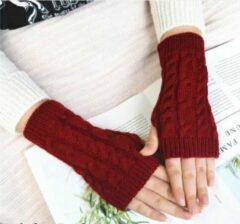 Bordeauxrode Merkloos / Sans marque Polswarmers rood - Gebreide vingerloze handschoenen - Dames