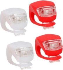 Lifetime 2x LED fietsverlichting set voor en achter - rood/wit - siliconen fietslampjes inclusief batterijen - voorlicht en achterlicht