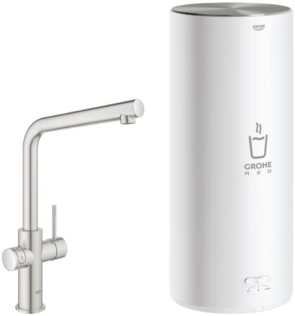 Afbeelding van Grohe Red New Duo kokend water kraan met L uitloop en L formaat boiler RVS