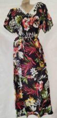 Merkloos / Sans marque Dames katoenen jurk korte mouw met bloemenprint XXL 42-44 zwart