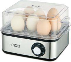 Zilveren MOA Elektrische eierkoker voor 8 eieren - Met timer - Voor een perfect ei – 500 Watt en met RVS behuizing
