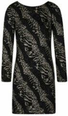 Morgan jurk met dierenprint en glitters zwart