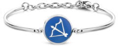 CO88 Collection Zodiac 8CB 90330 Stalen Armband met Hanger - Sterrenbeeld Boogschutter 15 mm - One-size - Zilverkleurig / Donkerblauw