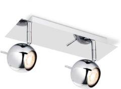 Zilveren Light Depot - LED Opbouwspot Bollo - 2- Lichts - ↔ 32 cm - Chroom Metaal - Modern - Incl. LED Spots