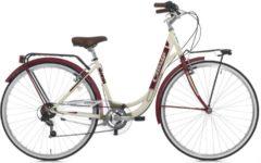 Cicli Cinzia 28 ZOLL CINZIA LIBERTY LADY CITY FAHRRAD 6-GANG Citybike Damen creme-burgundrot