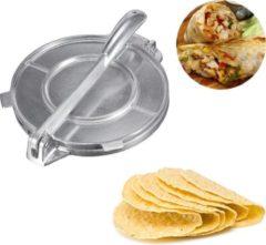 Zilveren FLOKOO Tortillapers - Tortilla Pers - Tortilla Maker - Taco Machine - Hamburgers Maker - Burrito Maker - Wrap Maker - Dumplings - Taartbodems - Duurzaam Gebruik - Doorsnee van 15CM - Aluminium